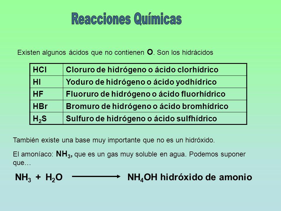 Existen algunos ácidos que no contienen O. Son los hidrácidos HClCloruro de hidrógeno o ácido clorhídrico HIYoduro de hidrógeno o ácido yodhídrico HFF