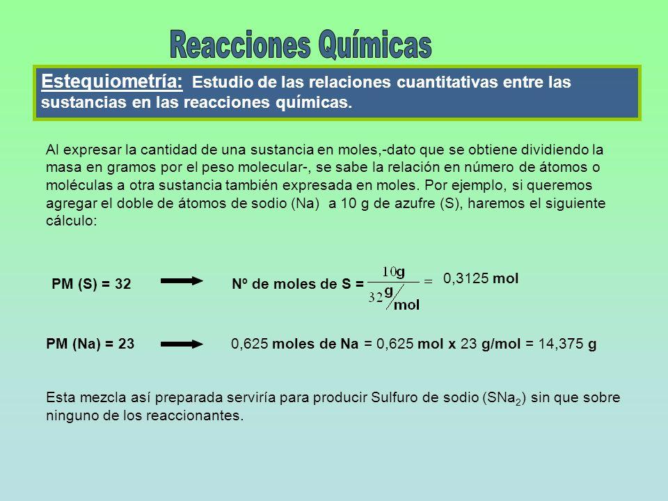 Estequiometría: Estudio de las relaciones cuantitativas entre las sustancias en las reacciones químicas. Al expresar la cantidad de una sustancia en m