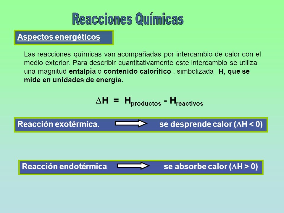 Aspectos energéticos Las reacciones químicas van acompañadas por intercambio de calor con el medio exterior. Para describir cuantitativamente este int