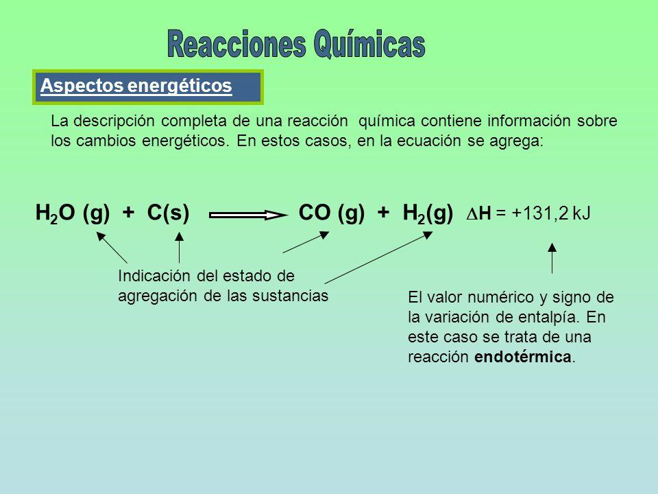 La descripción completa de una reacción química contiene información sobre los cambios energéticos. En estos casos, en la ecuación se agrega: H 2 O (g