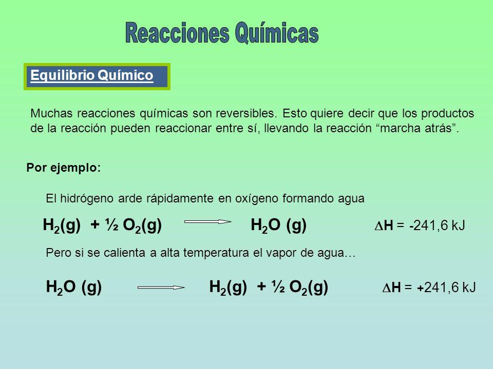 Equilibrio Químico Muchas reacciones químicas son reversibles. Esto quiere decir que los productos de la reacción pueden reaccionar entre sí, llevando