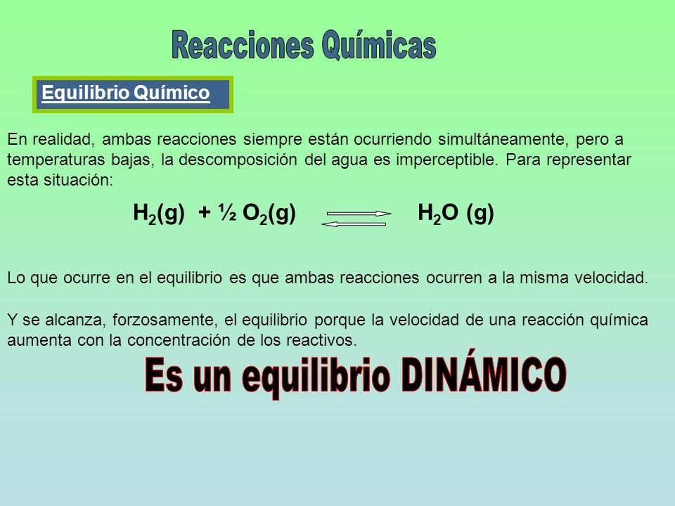 H 2 (g) + ½ O 2 (g) H 2 O (g) En realidad, ambas reacciones siempre están ocurriendo simultáneamente, pero a temperaturas bajas, la descomposición del