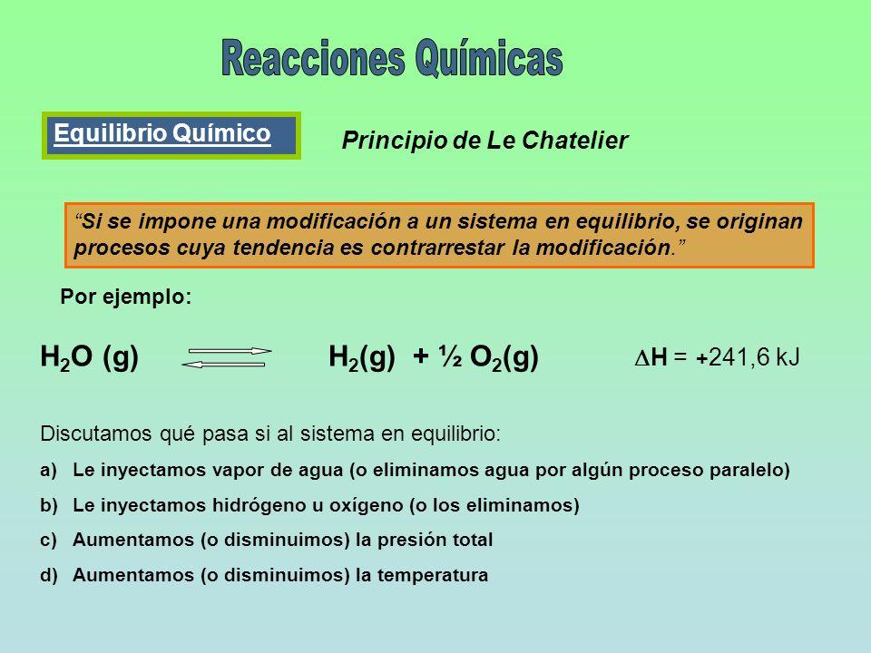 Equilibrio Químico Principio de Le Chatelier Si se impone una modificación a un sistema en equilibrio, se originan procesos cuya tendencia es contrarr