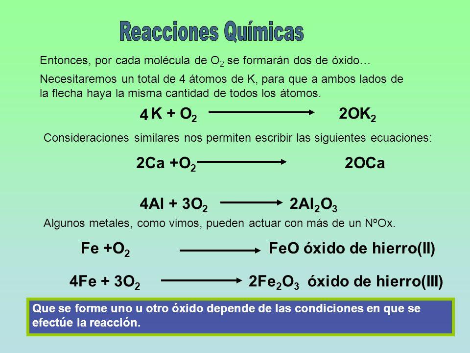 K + O 2 2OK 2 Entonces, por cada molécula de O 2 se formarán dos de óxido… Necesitaremos un total de 4 átomos de K, para que a ambos lados de la flech