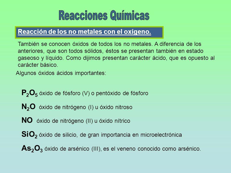 Reacción de los no metales con el oxígeno. También se conocen óxidos de todos los no metales. A diferencia de los anteriores, que son todos sólidos, é