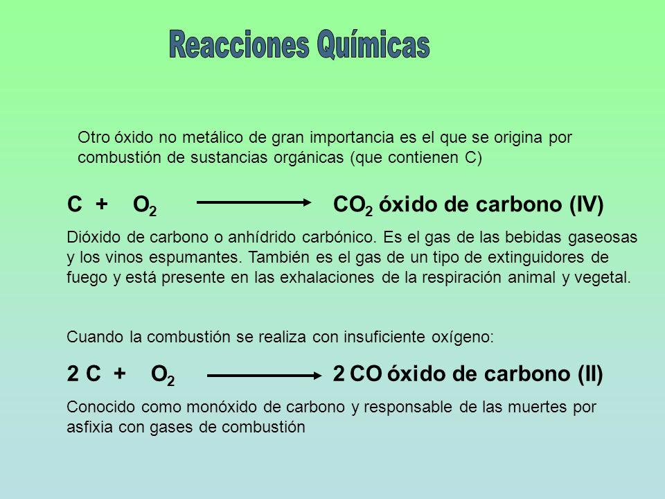 Otro óxido no metálico de gran importancia es el que se origina por combustión de sustancias orgánicas (que contienen C) C + O 2 CO 2 óxido de carbono