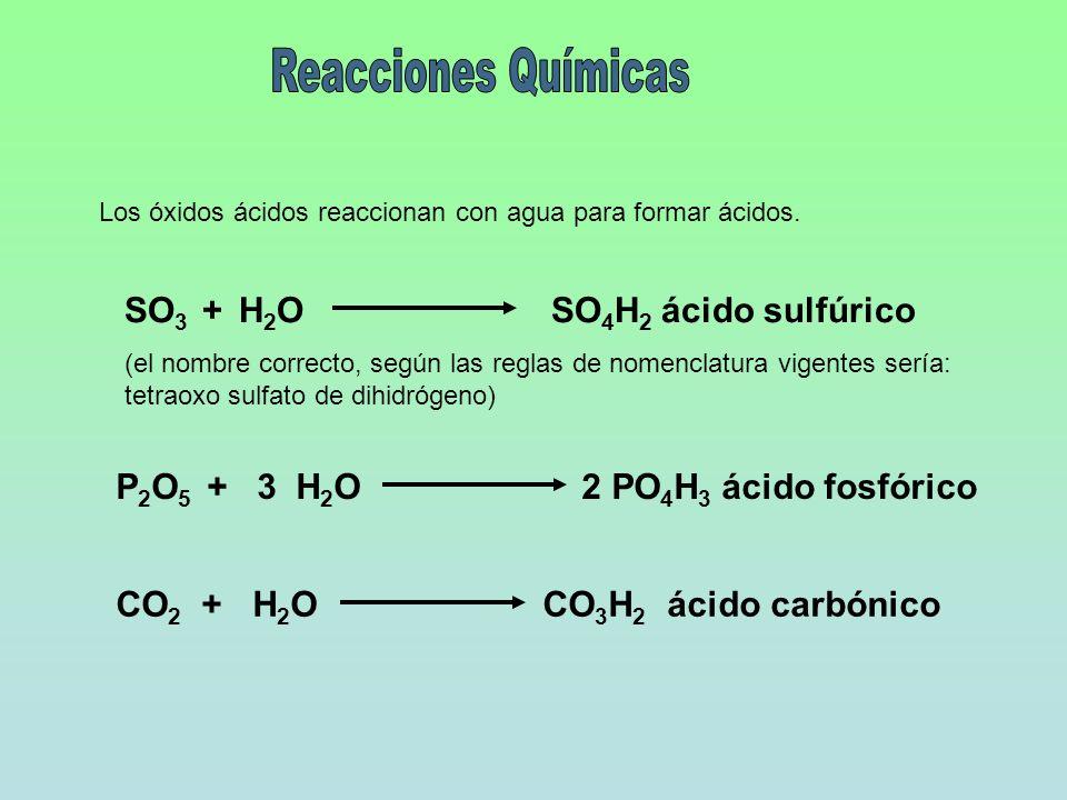 Los óxidos ácidos reaccionan con agua para formar ácidos. SO 3 + H 2 OSO 4 H 2 ácido sulfúrico (el nombre correcto, según las reglas de nomenclatura v