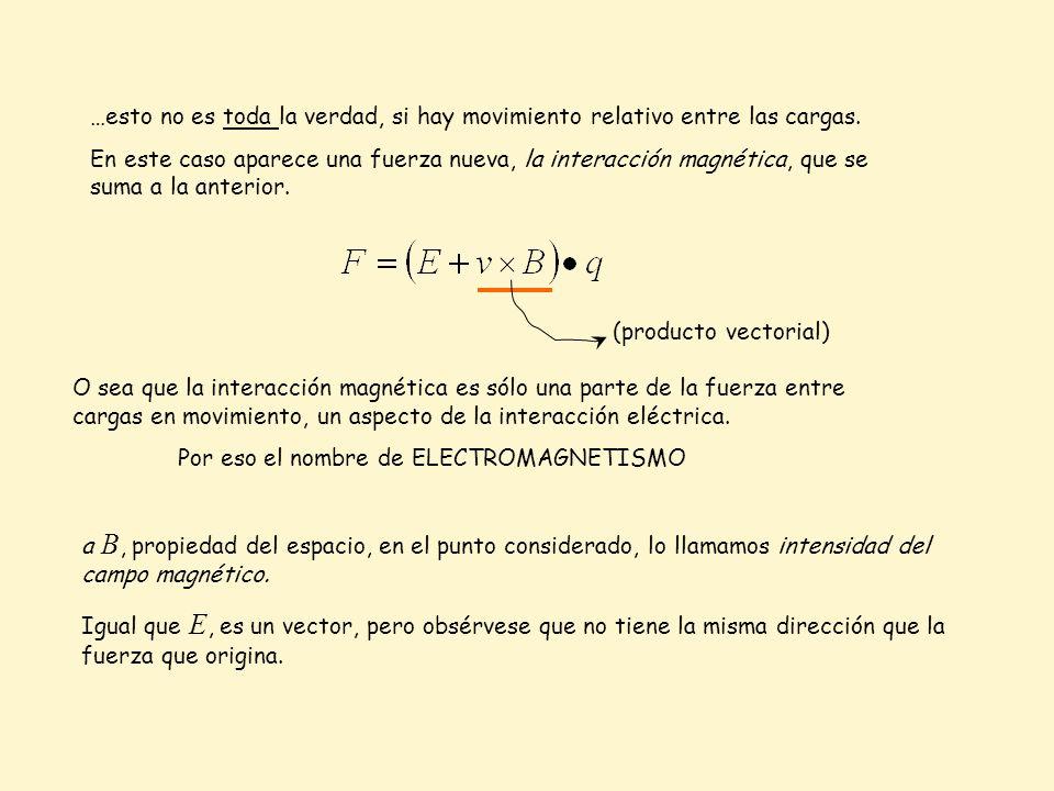 …esto no es toda la verdad, si hay movimiento relativo entre las cargas. En este caso aparece una fuerza nueva, la interacción magnética, que se suma