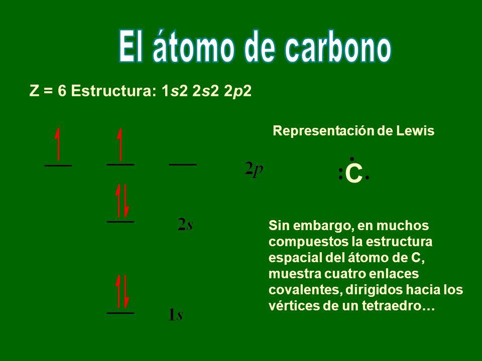 Z = 6 Estructura: 1s2 2s2 2p2 Representación de Lewis Sin embargo, en muchos compuestos la estructura espacial del átomo de C, muestra cuatro enlaces