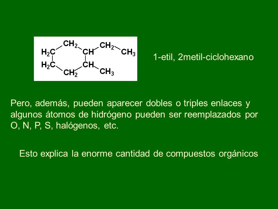1-etil, 2metil-ciclohexano Pero, además, pueden aparecer dobles o triples enlaces y algunos átomos de hidrógeno pueden ser reemplazados por O, N, P, S