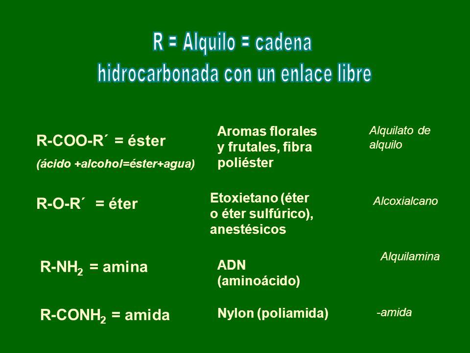 R-COO-R´ = éster (ácido +alcohol=éster+agua) Aromas florales y frutales, fibra poliéster Alquilato de alquilo R-O-R´ = éter Etoxietano (éter o éter su
