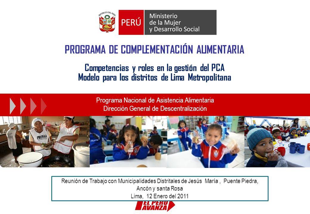 PROGRAMA DE COMPLEMENTACIÓN ALIMENTARIA Competencias y roles en la gestión del PCA Modelo para los distritos de Lima Metropolitana Programa Nacional d