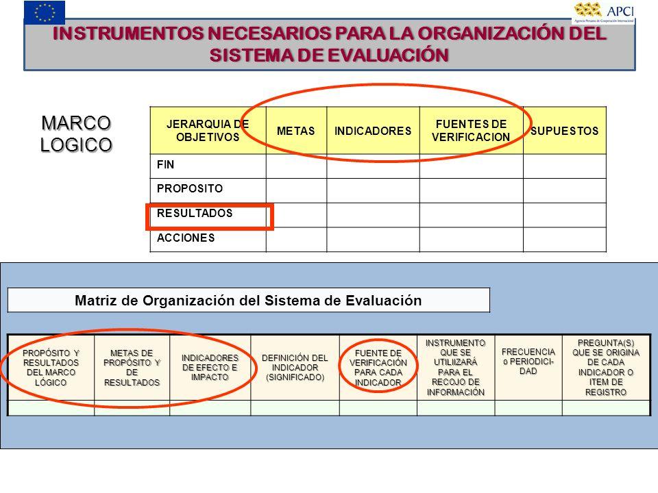 INSTRUMENTOS NECESARIOS PARA LA ORGANIZACIÓN DEL SISTEMA DE EVALUACIÓN JERARQUIA DE OBJETIVOS METASINDICADORES FUENTES DE VERIFICACION SUPUESTOS FIN P