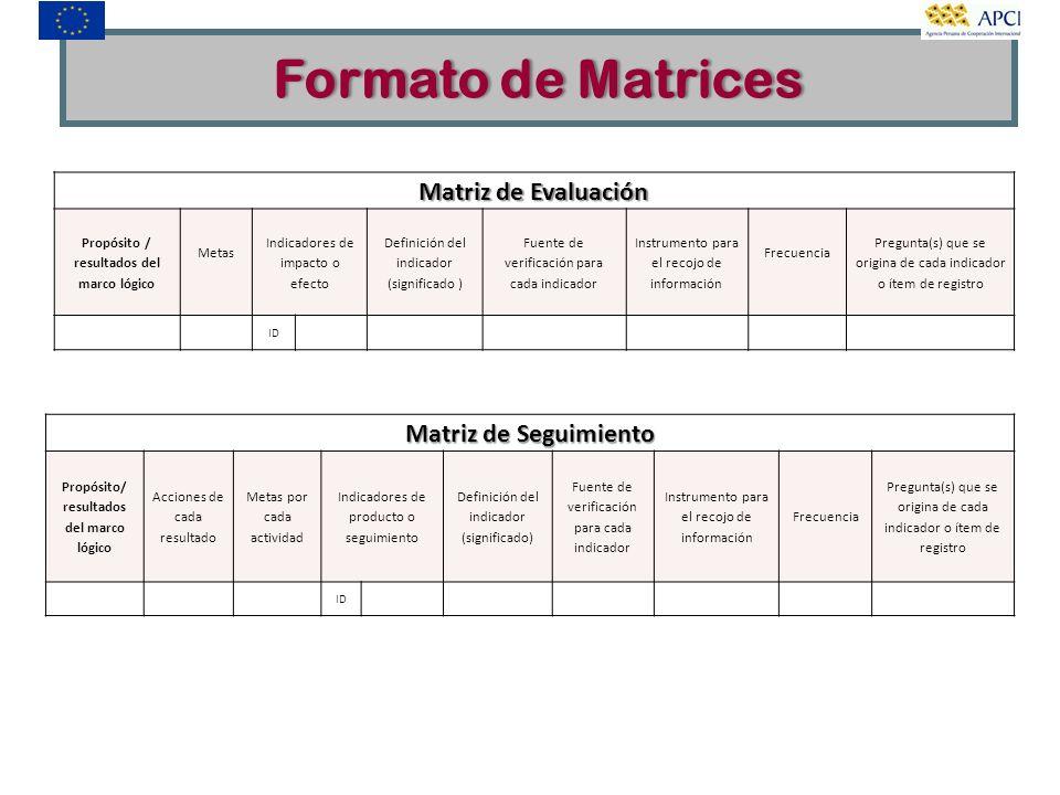 Matriz de Evaluación Propósito / resultados del marco lógico Metas Indicadores de impacto o efecto Definición del indicador (significado ) Fuente de v