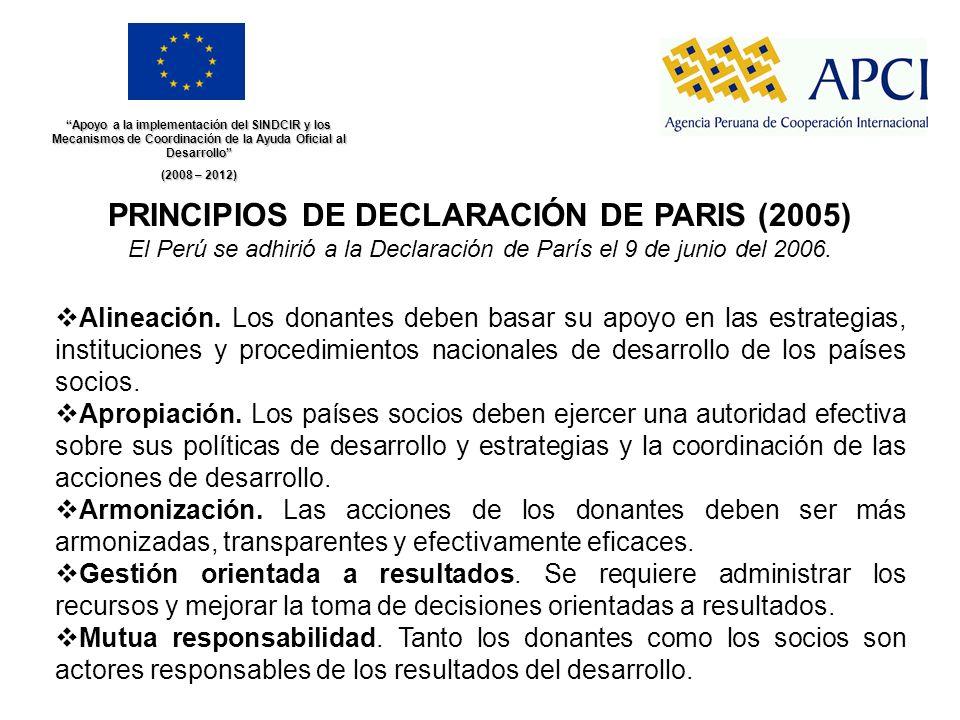 Apoyo a la implementación del SINDCIR y los Mecanismos de Coordinación de la Ayuda Oficial al Desarrollo (2008 – 2012) PRINCIPIOS DE DECLARACIÓN DE PA