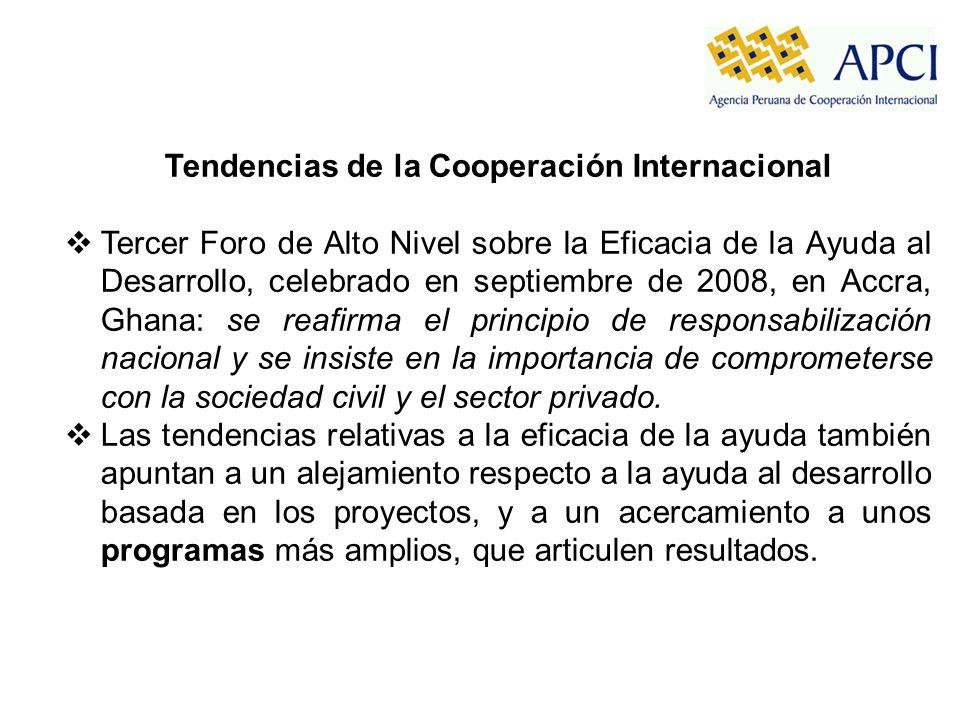 Tendencias de la Cooperación Internacional Tercer Foro de Alto Nivel sobre la Eficacia de la Ayuda al Desarrollo, celebrado en septiembre de 2008, en