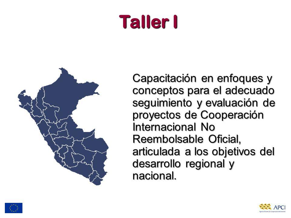 Taller I Capacitación en enfoques y conceptos para el adecuado seguimiento y evaluación de proyectos de Cooperación Internacional No Reembolsable Ofic