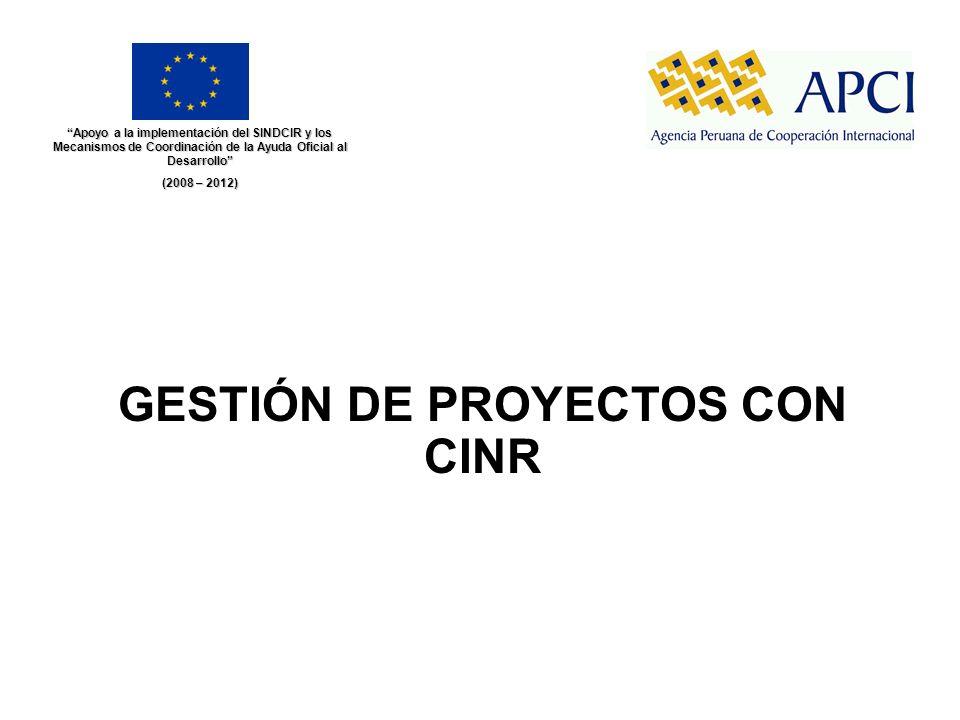 GESTIÓN DE PROYECTOS CON CINR Apoyo a la implementación del SINDCIR y los Mecanismos de Coordinación de la Ayuda Oficial al Desarrollo (2008 – 2012)