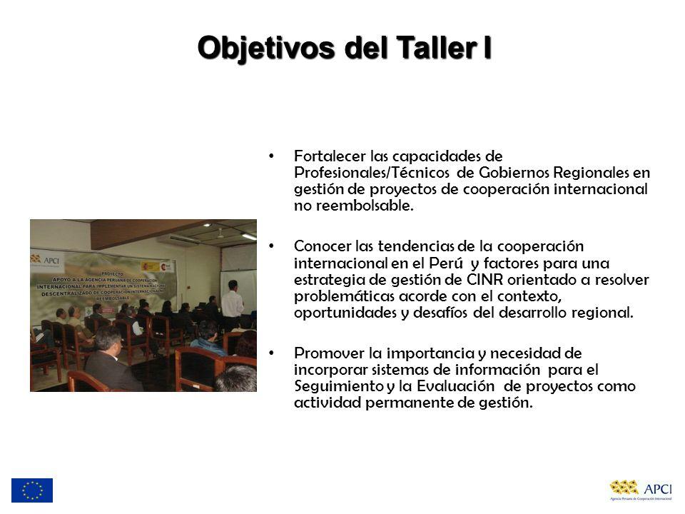 Objetivos del Taller I Fortalecer las capacidades de Profesionales/Técnicos de Gobiernos Regionales en gestión de proyectos de cooperación internacion
