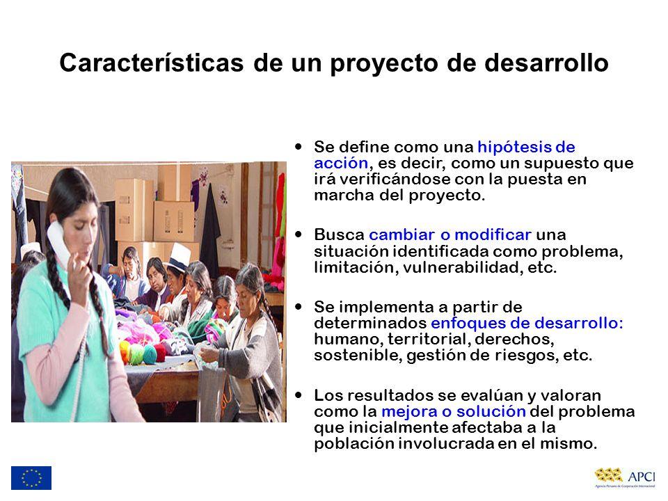Características de un proyecto de desarrollo Se define como una hipótesis de acción, es decir, como un supuesto que irá verificándose con la puesta en