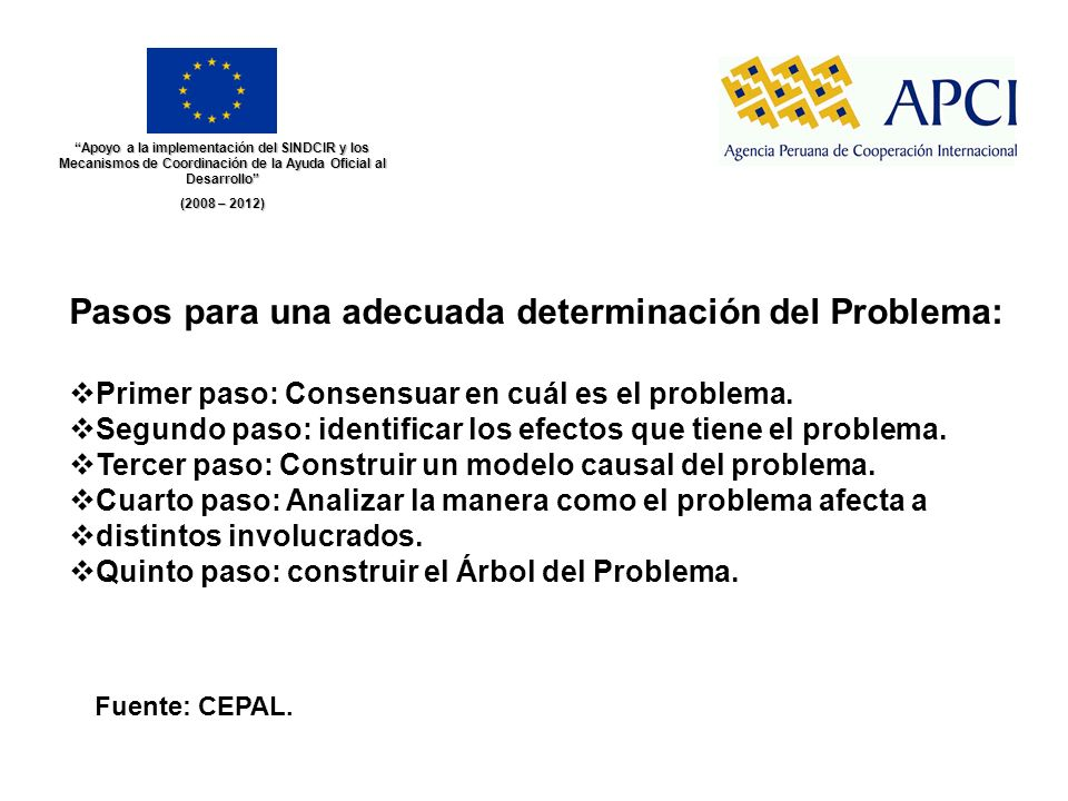 Apoyo a la implementación del SINDCIR y los Mecanismos de Coordinación de la Ayuda Oficial al Desarrollo (2008 – 2012) Fuente: CEPAL. Pasos para una a
