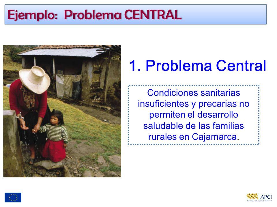 1. Problema Central Condiciones sanitarias insuficientes y precarias no permiten el desarrollo saludable de las familias rurales en Cajamarca. Ejemplo