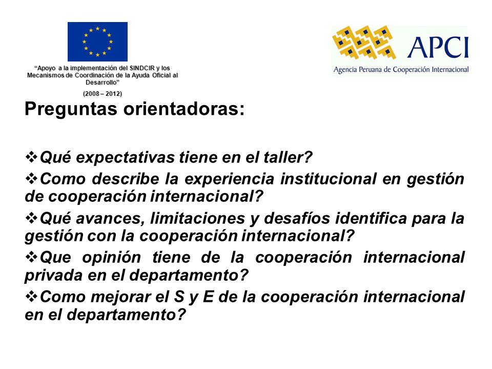 Preguntas orientadoras: Qué expectativas tiene en el taller? Como describe la experiencia institucional en gestión de cooperación internacional? Qué a