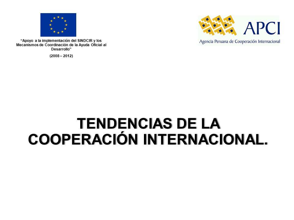 TENDENCIAS DE LA COOPERACIÓN INTERNACIONAL. Apoyo a la implementación del SINDCIR y los Mecanismos de Coordinación de la Ayuda Oficial al Desarrollo (