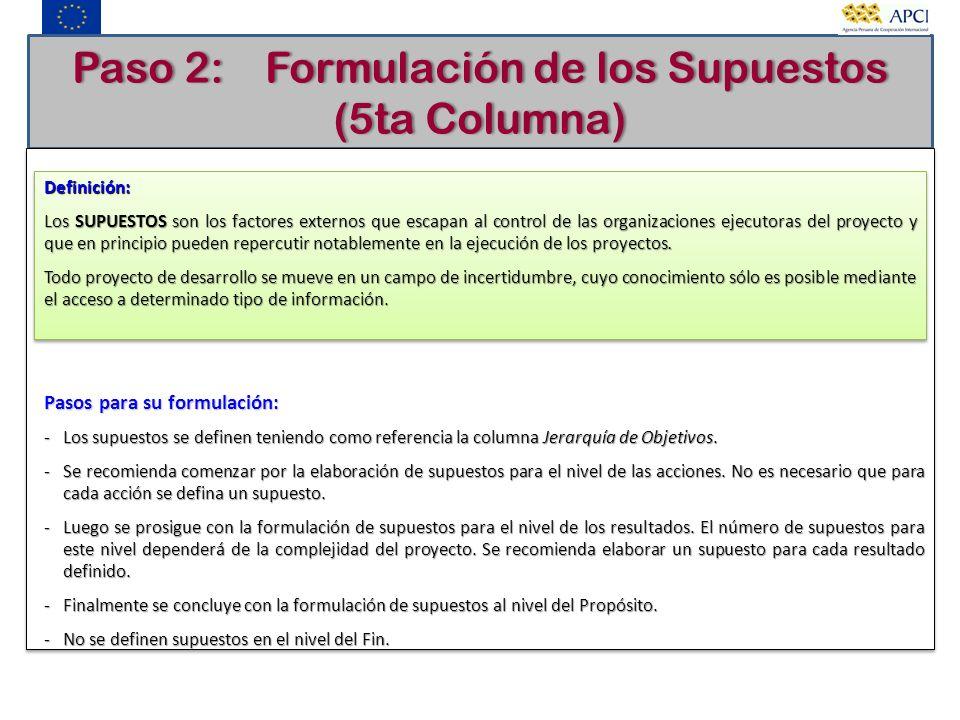 Paso 2: Formulación de los Supuestos (5ta Columna) Definición: Los SUPUESTOS son los factores externos que escapan al control de las organizaciones ej