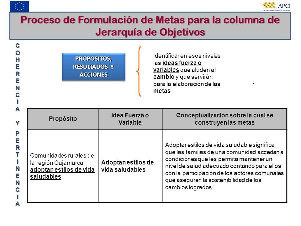 Proceso de Formulación de Metas para la columna de Jerarquía de Objetivos PROPOSITOS, RESULTADOS Y ACCIONES COHERENCIA YCOHERENCIA YPERTINENCIAPERTINE