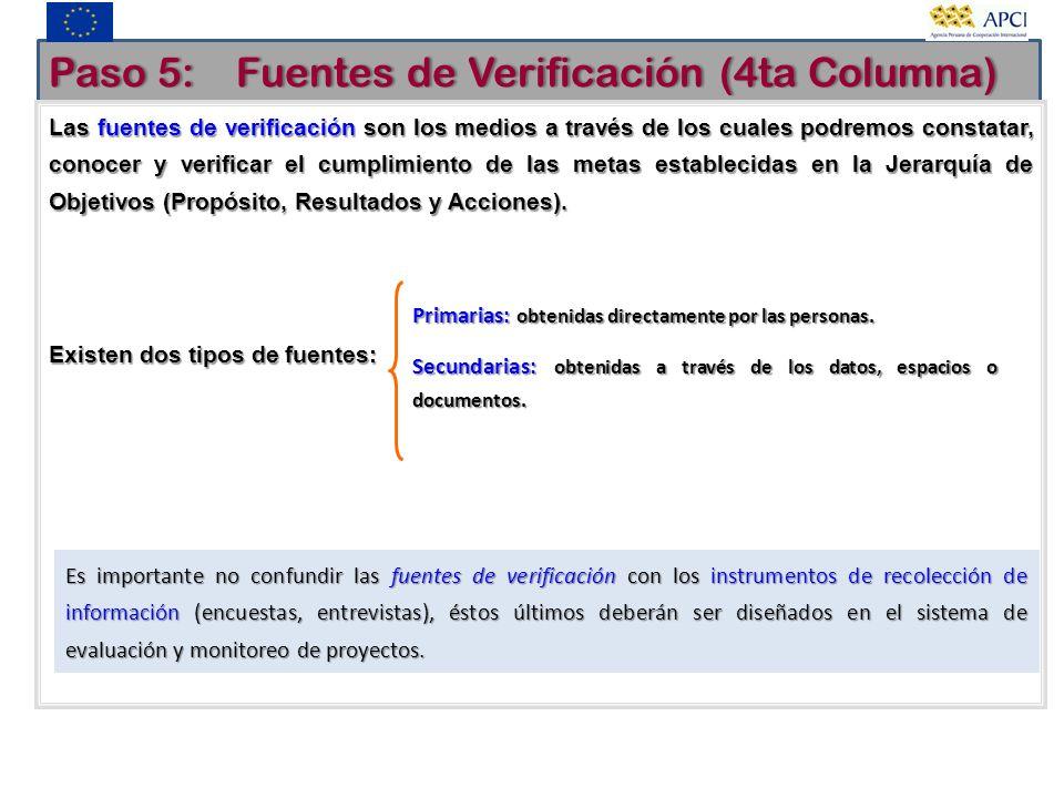 Paso 5: Fuentes de Verificación (4ta Columna)Paso 5: Fuentes de Verificación (4ta Columna) Las fuentes de verificación son los medios a través de los