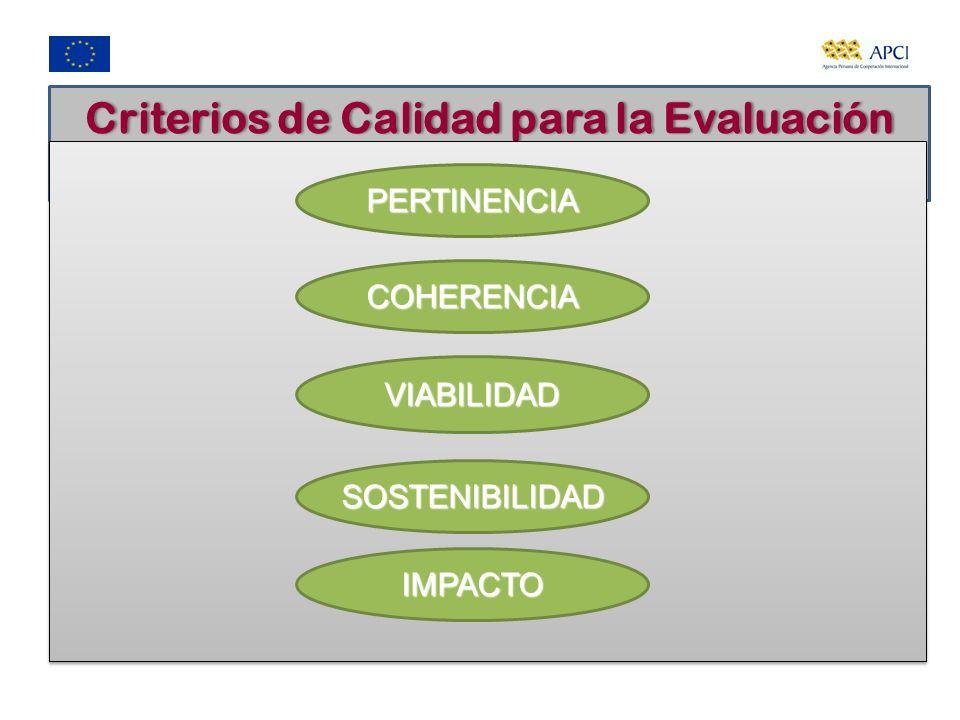 Criterios de Calidad para la Evaluación Ex ante PERTINENCIA COHERENCIA VIABILIDAD SOSTENIBILIDAD IMPACTO