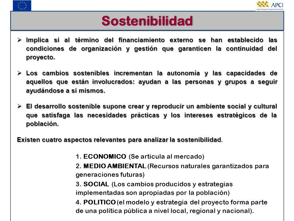 Sostenibilidad Implica si al término del financiamiento externo se han establecido las condiciones de organización y gestión que garanticen la continu