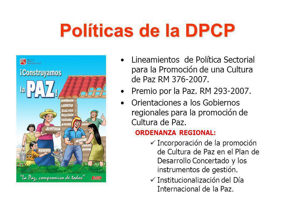 Políticas de la DPCP Lineamientos de Política Sectorial para la Promoción de una Cultura de Paz RM 376-2007. Premio por la Paz. RM 293-2007. Orientaci