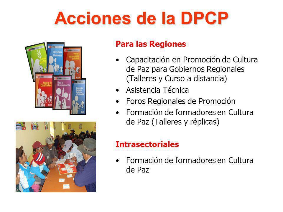 Para las Regiones Capacitación en Promoción de Cultura de Paz para Gobiernos Regionales (Talleres y Curso a distancia) Asistencia Técnica Foros Region