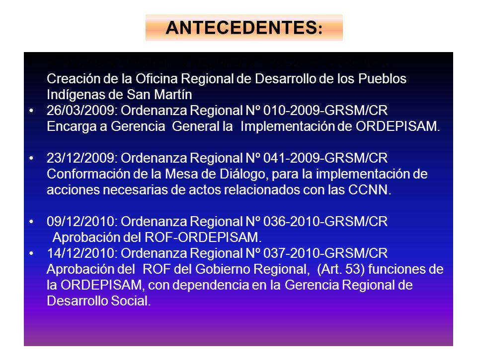 30/12/2005: Ordenanza Regional Nº 028-2005-GRSM/CR. Creación de la Oficina Regional de Desarrollo de los Pueblos Indígenas de San Martín 26/03/2009: O