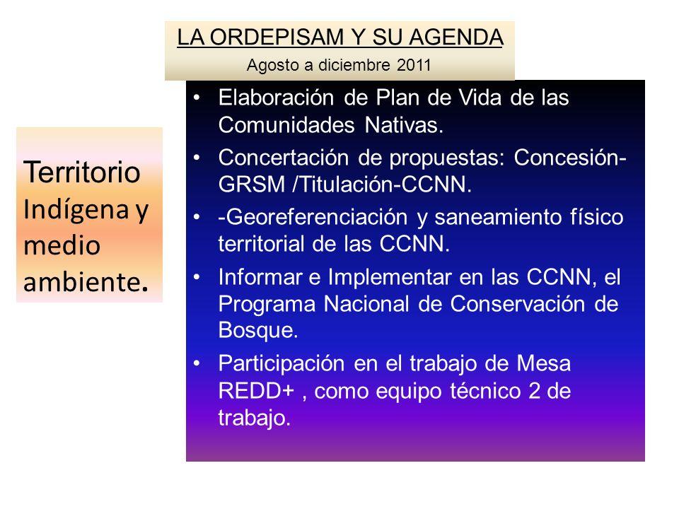 Territorio Indígena y medio ambiente. Elaboración de Plan de Vida de las Comunidades Nativas. Concertación de propuestas: Concesión- GRSM /Titulación-