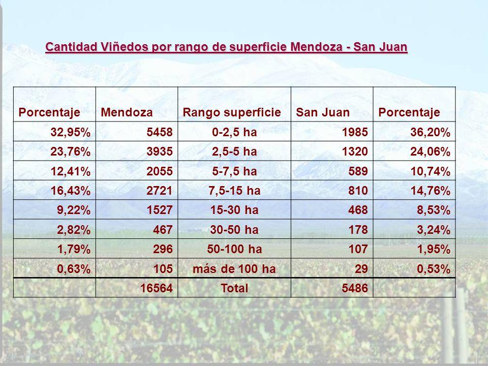 Cantidad Viñedos por rango de superficie Mendoza - San Juan PorcentajeMendozaRango superficieSan JuanPorcentaje 32,95%54580-2,5 ha198536,20% 23,76%393