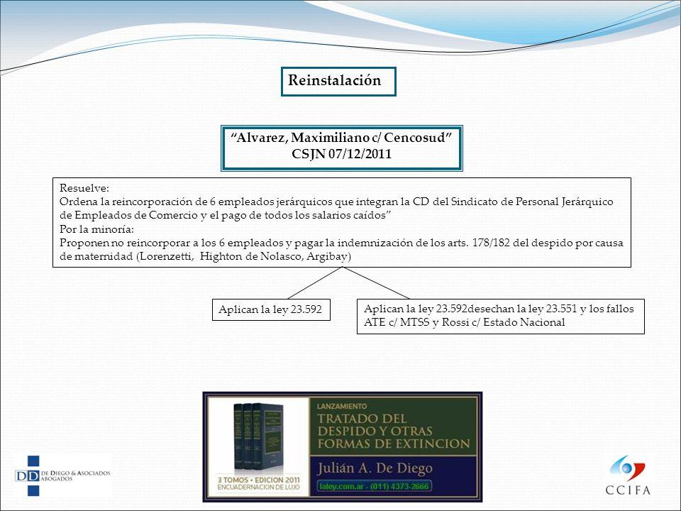Alvarez, Maximiliano c/ Cencosud CSJN 07/12/2011 Resuelve: Ordena la reincorporación de 6 empleados jerárquicos que integran la CD del Sindicato de Pe