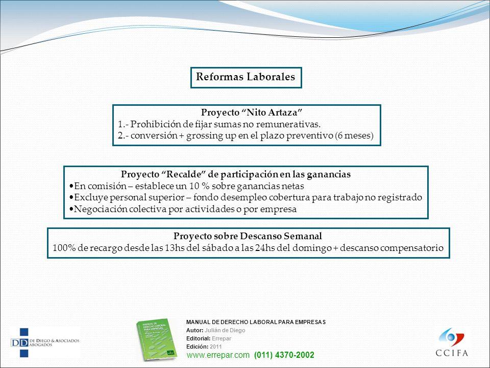 Proyecto Nito Artaza 1.- Prohibición de fijar sumas no remunerativas. 2.- conversión + grossing up en el plazo preventivo (6 meses) Reformas Laborales
