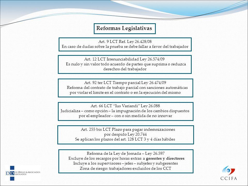 Art. 9 LCT Ref. Ley 26.428/08 En caso de dudas sobre la prueba se debe fallar a favor del trabajador Reformas Legislativas Art. 12 LCT Irrenunciabilid