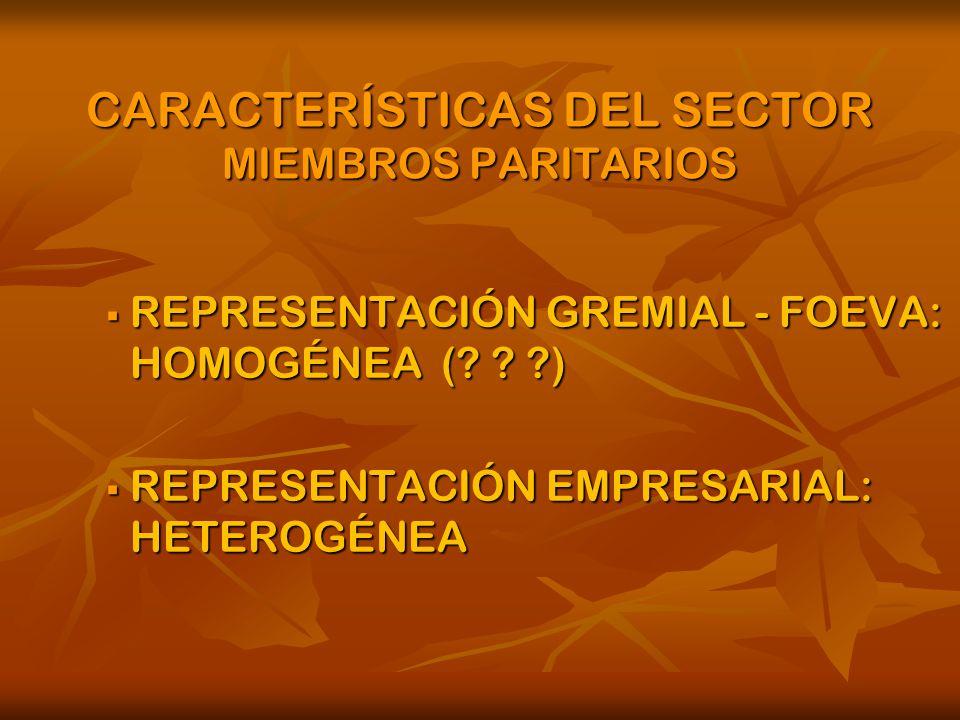 CARACTERÍSTICAS DEL SECTOR MIEMBROS PARITARIOS REPRESENTACIÓN GREMIAL - FOEVA: HOMOGÉNEA (.