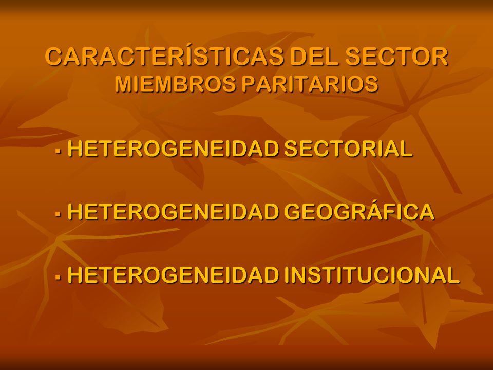 CARACTERÍSTICAS DEL SECTOR MIEMBROS PARITARIOS HETEROGENEIDAD SECTORIAL HETEROGENEIDAD SECTORIAL HETEROGENEIDAD GEOGRÁFICA HETEROGENEIDAD GEOGRÁFICA HETEROGENEIDAD INSTITUCIONAL HETEROGENEIDAD INSTITUCIONAL