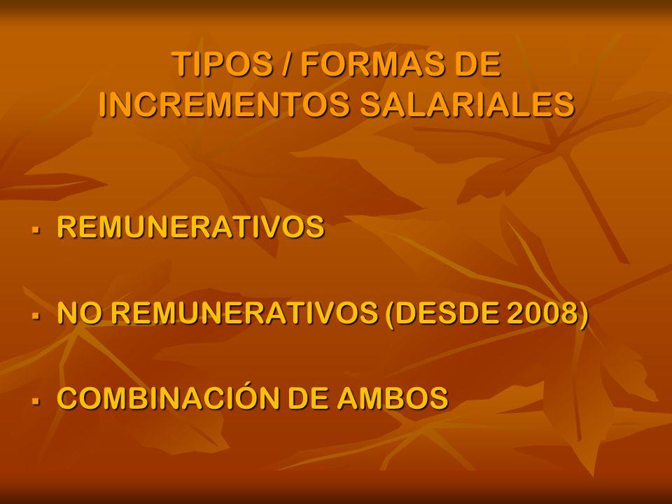 TIPOS / FORMAS DE INCREMENTOS SALARIALES REMUNERATIVOS REMUNERATIVOS NO REMUNERATIVOS (DESDE 2008) NO REMUNERATIVOS (DESDE 2008) COMBINACIÓN DE AMBOS COMBINACIÓN DE AMBOS