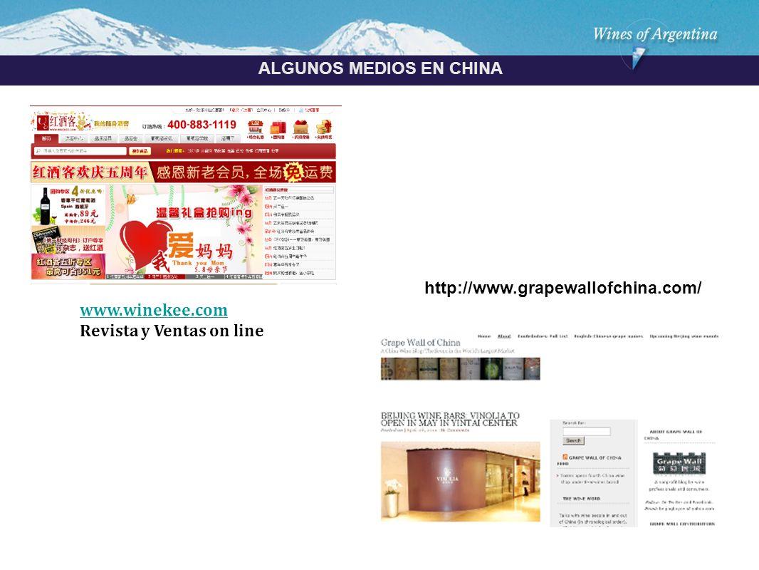 Argentina ALGUNOS MEDIOS EN CHINA www.winekee.com Revista y Ventas on line http://www.grapewallofchina.com/