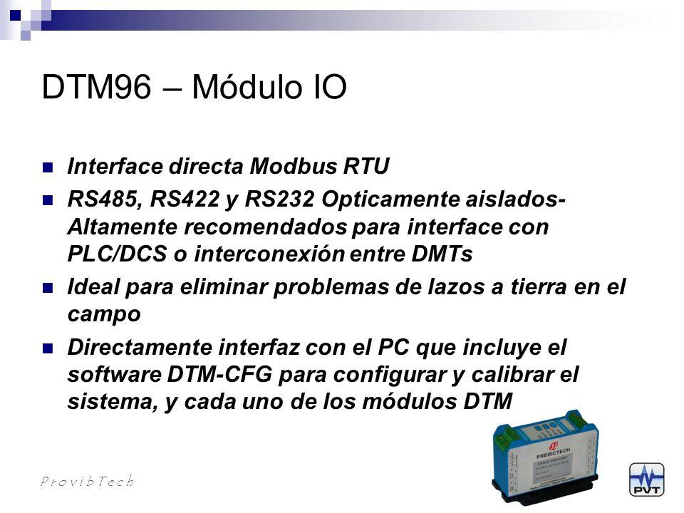 DTM96 Información para Ordenar P r o v i b T e c h DTM96-AX-BX-SX AX: Salidas A0*: Modbus RS485, RS422, RS232 BX: Montaje B0*: Montaje en riel DIN B1: Montaje en Plancha SX: Aprobaciones S0*: CE S1: CE; CSA class l, Div.2, Groups A, B, C & D, T4; ATEX lll 3G Ex nA ll T4