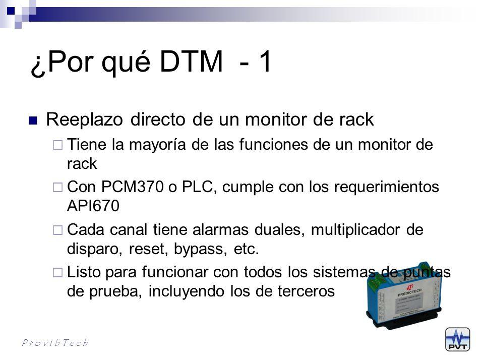 ¿Por qué DTM - 2 Diseño modular para alcanzar máxima flexibilidad y la configuración mas simple del sistema Sin rack Sin fuente de alimentación dedicada Sin módulo de interface de rack Sin requerir espacio en el panel de montaje o en el rack Sin módulo de alarma adicional P r o v i b T e c h
