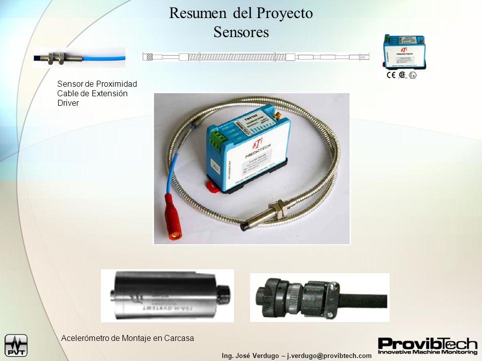 Ing. José Verdugo – j.verdugo@provibtech.com Resumen del Proyecto Sensores Sensor de Proximidad Cable de Extensión Driver Acelerómetro de Montaje en C