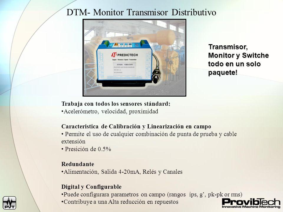 Número de ModeloDTM10DTM20DTM96DTM-CFG Vibración Radial, Empuje, Velocidad Vibración de Carcasa Accesorios: Módulo de Comunicación Accesorio: Software de Configuración Vibración Radial Posición Axial Velocidad / Referencia de Fase Vibración de Carcaza (sismico) Acelerómetro Transductor de Velocidad Punta de Prueba de Proximidad Trabaja con o sin Driver (proximitor) Salida redundante 4-20mA Salida de relé redundante Entrada de alimentación redundante Salida Modbus (isolation) Salida con buffer Categoría para areas peligrosas (CSA, ATEX) Clase I Div.2; Zone 2 (Pending)PPP Garantía – 5 años Guía de selección DTM