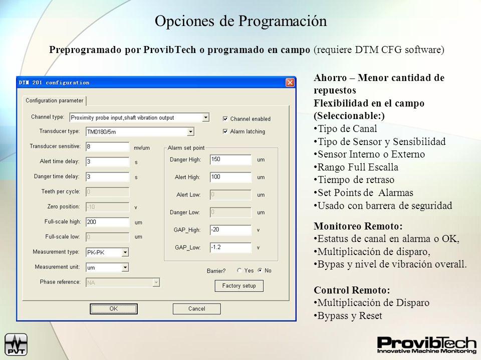 Opciones de Programación Preprogramado por ProvibTech o programado en campo (requiere DTM CFG software) Ahorro – Menor cantidad de repuestos Flexibili